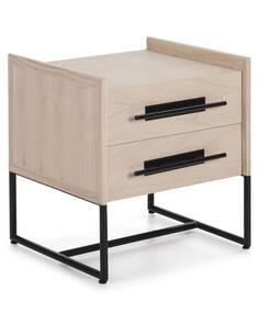 Table de chevet 50x45x54 Bois Naturel/Métal Noir