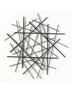 Sculpture 78x4x79 Métal Noir/Doré