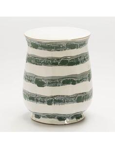 Tabouret 34x34x45 Céramique Blanc/Vert