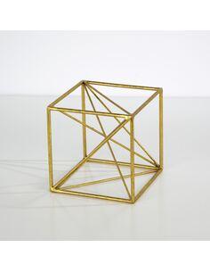 Figure 15x15x15 Métal Doré