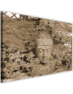 Tableau Head Of Buddha Among The Leaves 4