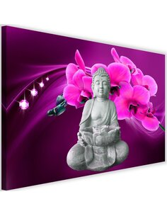 Tableau Buddha With Orchids 1