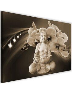 Tableau Buddha With Orchids 4