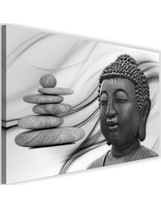 Tableau Head Of Buddha And Stones Zen 3