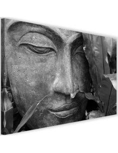 Tableau Buddha Face With A Leaf 3