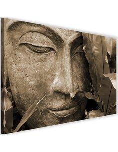 Tableau Buddha Face With A Leaf 4