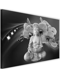 Tableau Buddha With Orchids