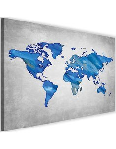 Tableau Navy Blue Map Of The World On Concrete