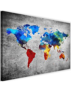Tableau Map Of The World Painted On The Concrete