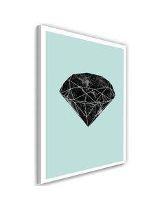 Tableau Black Diamond On A Blue Background