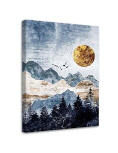 Tableau Gold Moon And Mountains