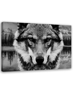 Tableau Black And White Wolf