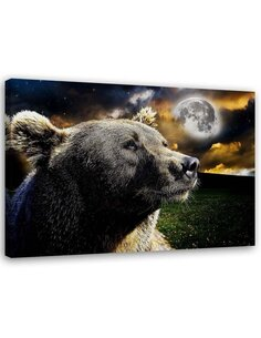 Tableau Bear On The Background Of The Moon