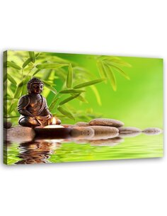 Tableau Budda On The Green Background