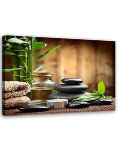 Tableau Zen Black Stones And Bamboo