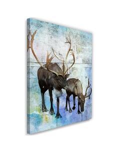 Tableau Deer And Reindeer Retro Style