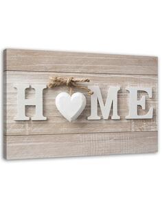 Tableau inscription home rustic wood heart