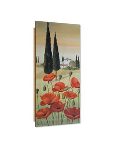 Tableau bois Poppies Tuscany