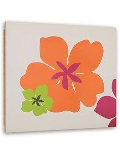 Tableau bois Colorful flowers