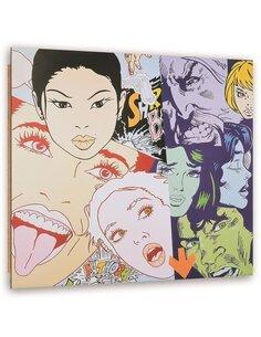 Tableau bois with comic faces