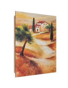 Tableau bois Villa Italy abstraction