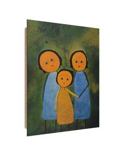 Tableau bois family portrait abstraction