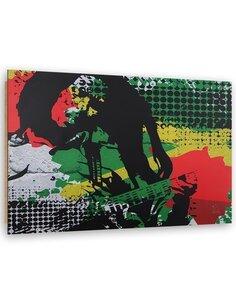 Tableau bois Bob Marley abstraction