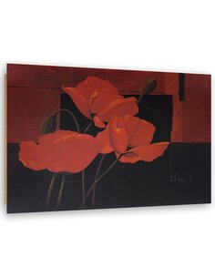 Tableau bois Abstract poppies