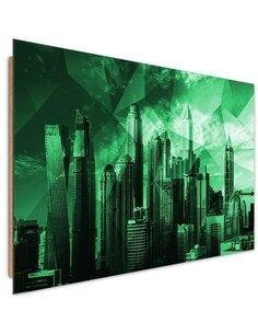 Tableau bois Geometric City 3