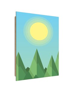 Tableau bois Geometric forest landscape with the sun
