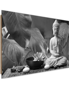 Tableau bois Buddha with lily 3