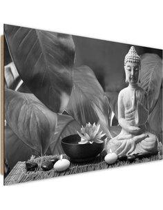 Tableau bois Buddha with lily 3