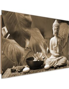 Tableau bois Buddha with lily 4