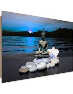 Tableau bois the Buddha on the rocks 1
