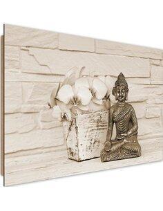 Tableau bois with flower Buddha 4