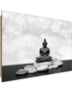 Tableau bois on stones Zen Buddha 3
