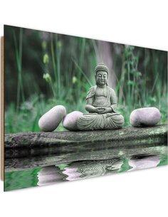 Tableau bois Buddha Water 2