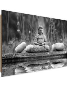 Tableau bois Buddha Water 3