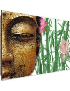 Tableau bois Half face buddha 2