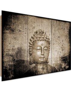 Tableau bois Buddha on wooden background 4