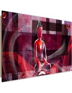Tableau bois Red Buddha geometrical