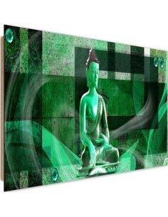 Tableau bois on geometric background Buddha 2