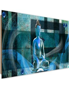 Tableau bois on geometric background Buddha 3