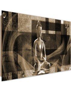 Tableau bois Buddha on geometric background 4