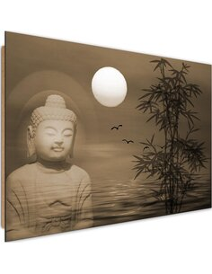 Tableau bois the Buddha by the sea at sunset 4