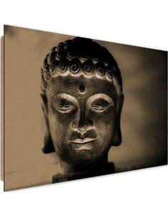Tableau bois illuminated Buddha head 4