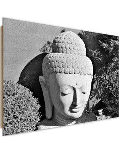 Tableau bois Head of Buddha 3 plants