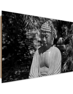Tableau bois Buddha between the trees 3