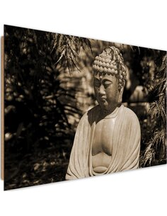 Tableau bois Buddha between the trees 4