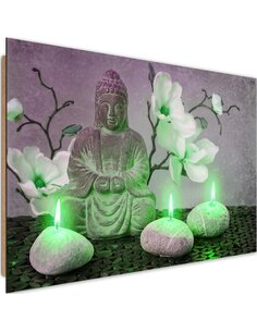 Tableau bois Buddha with orchids and candles 1
